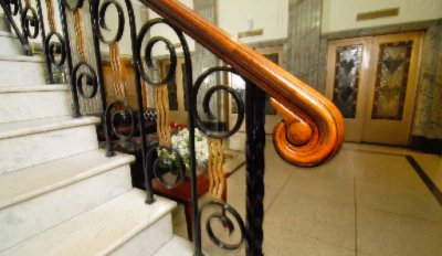 Wrought Iron Staircase With Marble Foyer 6 of 17