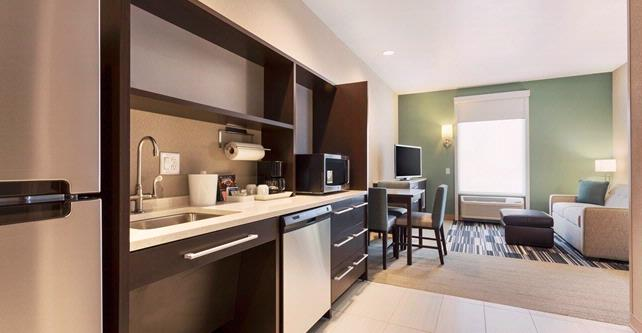 Kitchenettes In Every Room With A Large Fridge & Convection Microwave Oven (This Is Our Accessible Room With All Kitchen Items Stored In The Drawers Below) 10 of 16