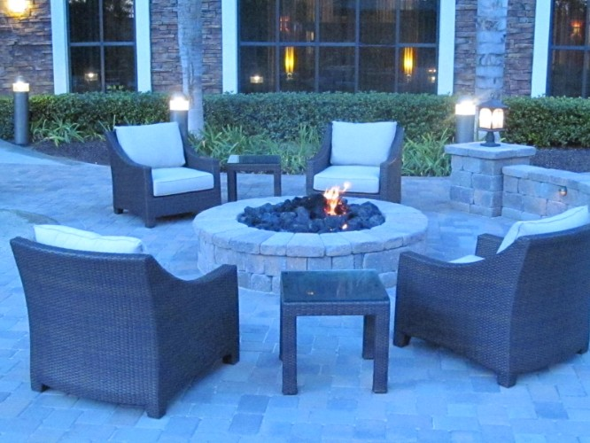 Fire Pit At Dusk-Outdoor Seating Area 7 of 13