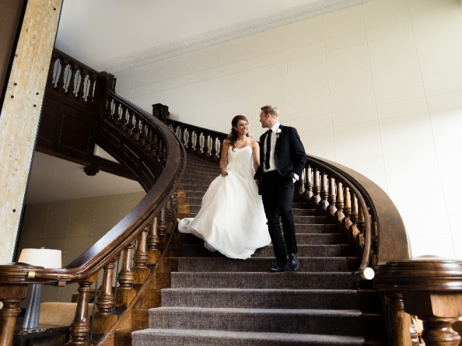 Wedding Couple On Grand Staircase 6 of 12