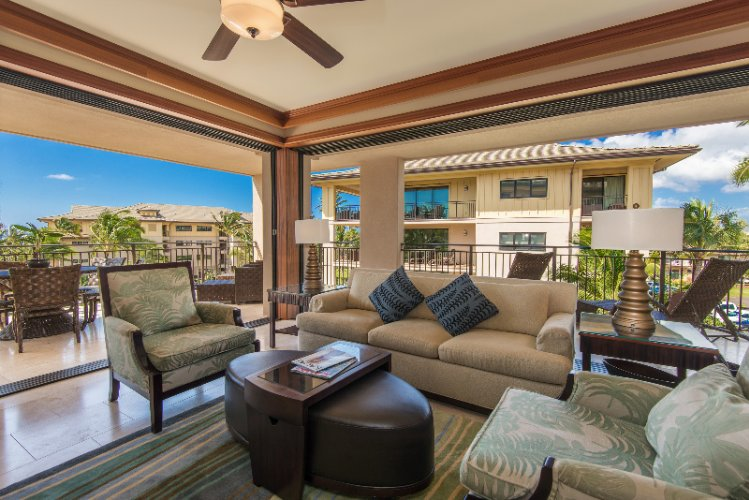 Koloa Landing Resort & Spa -3 Bedroom Living Room (Open-Air) 6 of 14
