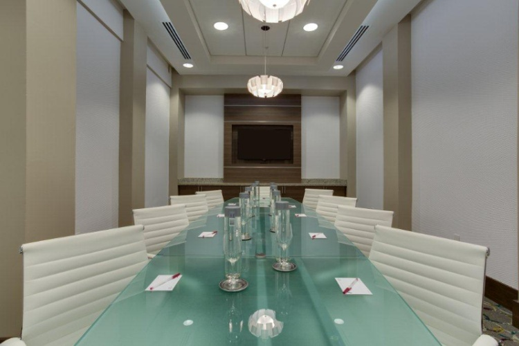 Exquisite Executive Boardroom For 12 Guests With Over-Sized Flat-Panel Tv With Computer Connectivity. 9 of 13
