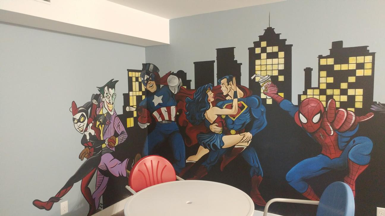 Our Kids Party Room Comes With Super Heroes! 11 of 12