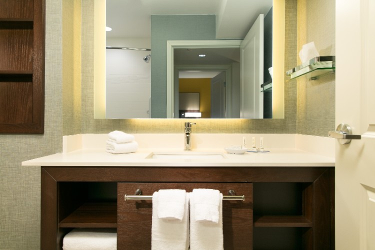 Each Of Our One-And Two-Bedroom Suites Has A Private Bathroom. Our New Style Bathrooms Are Designed To Provide You With The Space You Need And Include A Large Vanity Area With Lit Mirror And Storage Space For All Your Personal Items. 14 of 19