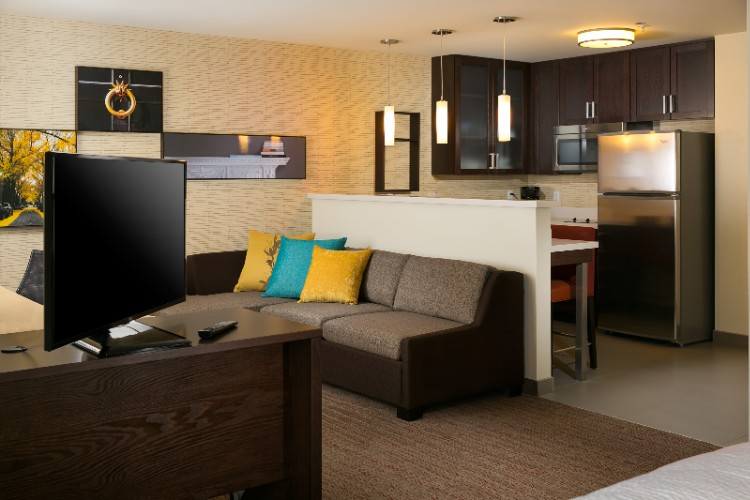 At The Residence Inn Kansas City At The Legends Each Guest Room Is A Spacious Suite With A Full Kitchen. Our Studio Suites Offer Distinct Areas For Working Eating Sleeping And Relaxing. 9 of 19