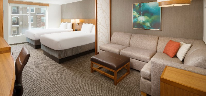 One Of Our Standard Rooms With Two Queen Hyatt Grand Beds® And Our Cozy Corner With Sofa Sleeper 16 of 25