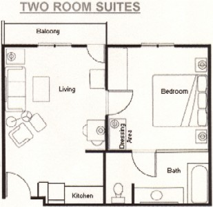 2 Room Suite Floor Plan 10 of 14