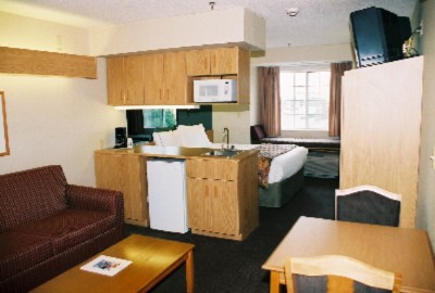 Spacious Full Suite With One Queen Bed Sofa Sleeper Wet Bar Coffee Maker Microwave And Mini Fridge 4 of 9