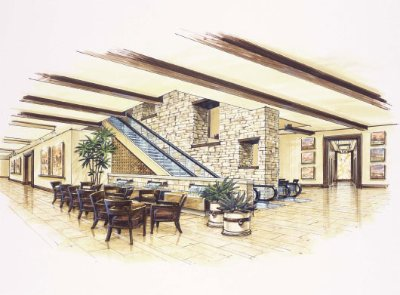 Lobby Features A 75 Ft Tall Stone Wall 4 of 10