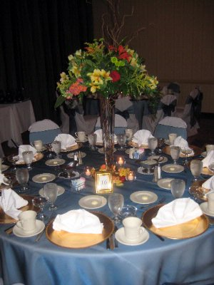 Wedding Table With Blue Linens 14 of 14