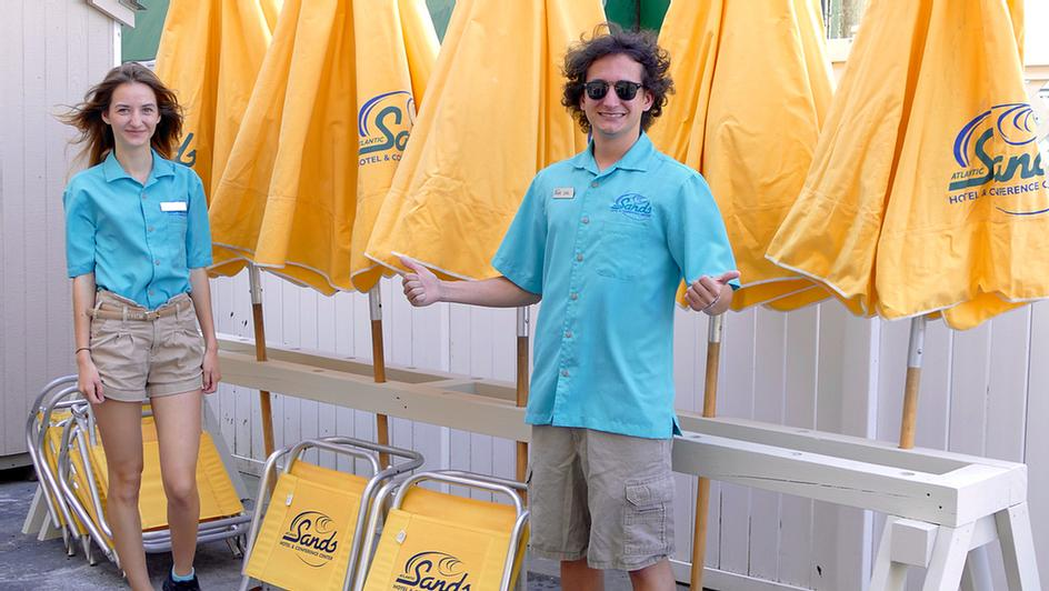 Complimentary Beach Chairs & Umbrella In Season 12 of 13