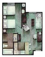 1 Bedroom Suite Config 5 of 10