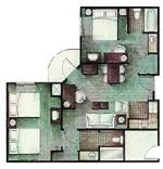 2 Bedroom/2bath Config 7 of 13