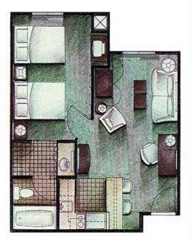 One Bedroom Suite Layout 22 of 31