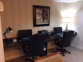 Business Desk With Two Desktops And Printer 6 of 12