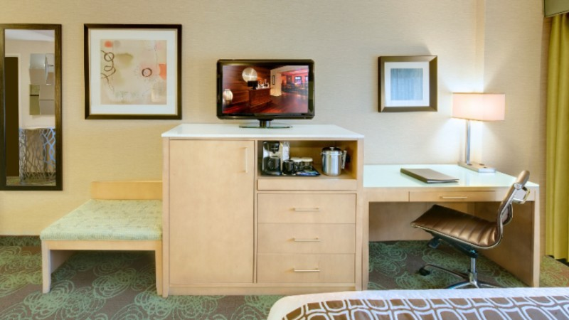 Guest Rooms Feature Hdtv Desk Area With Ergonomic Chair Coffee Maker Complimentary Wifi Sleep Advantage Kit And More. 9 of 16