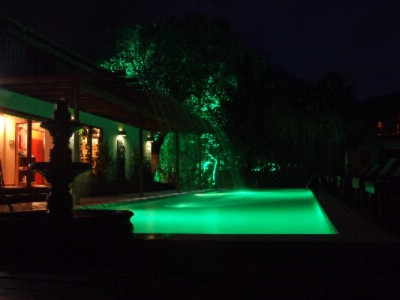 Pool & Water Feature At Night 3 of 13