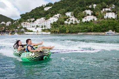 Tubing In Labrelotte Bay With Windjammer In The Background 12 of 16