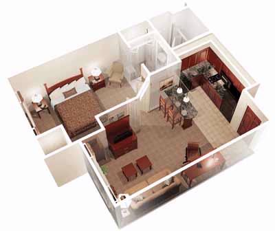 One Bedroom Layout 6 of 6