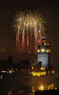 Fireworks In Edinburgh Over The Majestic Balmoral Clock Tower 5 of 5