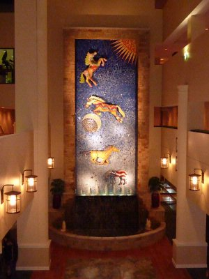 Dramatic Fountain Features 42 Foot Glass Mosaic 15 of 22