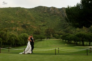 Bride & Groom Above 9th Hole 2 of 26